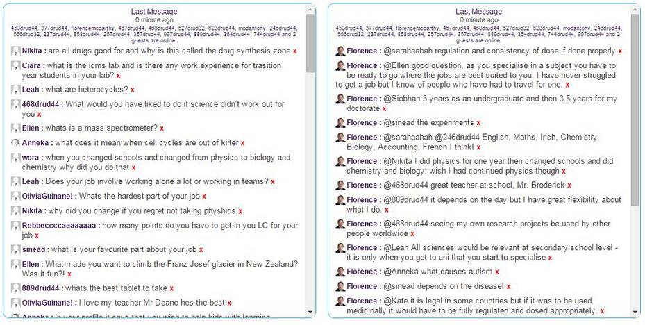 The students make the most of their chance to talk with Florence in the drug Synthesis zone live chat